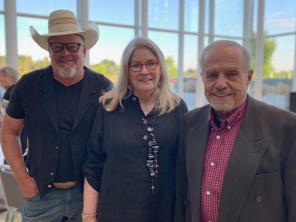 Poet Laureate, Larry Woiwode (R), Assoc. Poets Laureate Shad Piehl (L) Bonnie Larson Staiger (C) 7-2019